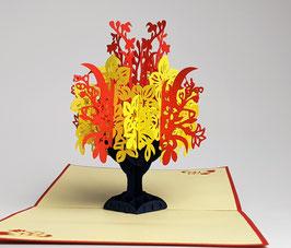 Popgrats Bunter Blumenstrauß in Dunkelblauer Vase 3D Grußkarte