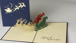 Rehgruppe mit Weihnachtsmann auf Schlitten