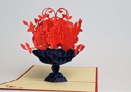 Popgrats Rote Rosen in Schwarzer Vase 3D Grußkarte