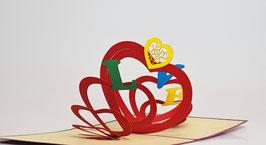 "Popgrats ""LOVE"" Spirale in Herz Form 3D Grußkarte"
