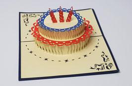 Popgrats Geburtstags Torte mit drei Kerzen 3D Grußkarte