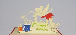"Popgrats Fee Tinkerbell ""Happy Birthday"" 3D Grußkarte"