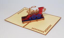 Popgrats Lokomotive mit Lockführer Affe 3D Grußkarte