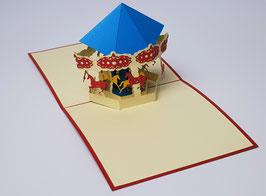 Popgrats Buntes Pferde Karussel 3D Grußkarte