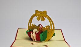 Popgrats Bunter Blumen Korb mit Schleife 3D Grußkarte