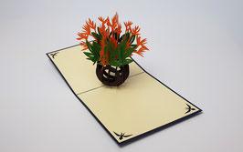 Popgrats Blumen Vase mit Lillien 3D Grußkarte