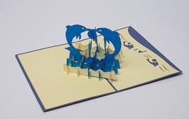 Popgrats Zwei Delfine mit Ball 3D Grußkarte