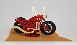 Popgrats Motorrad 3D Grußkarte