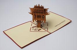 Popgrats Einsäulenpagode Hanoi 3D Grußkarte