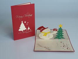 Schneemann und Tannenbaum