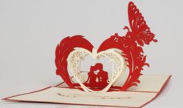 Popgrats Liebespaar 3D Grußkarte zum Valentintstag