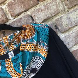 langärmliges T-shirt mit afrikanischem Waxprint-Kragen Nr.2 (orange türkis)