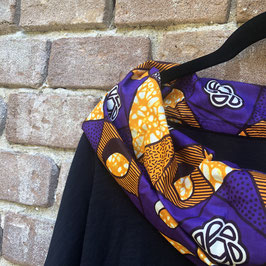 langärmliges T-shirt mit afrikanischem Waxprint-Kragen Nr.3 (orange türkis) XL