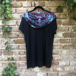 SALE!! T-shirt mit afrikanischem Waxprint-Kragen (Nr. 8)