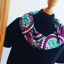 Kleid mit afrikanischem  Waxprint-Kragen (Nr. 6)