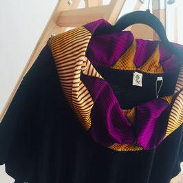 Kleid mit afrikanischem  Waxprint-Kragen (Nr. 1)