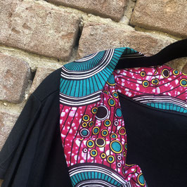 SALE!! T-shirt mit afrikanischem Waxprint-Kragen (Nr. 17)