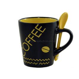 Coffee gelb mit Löffel