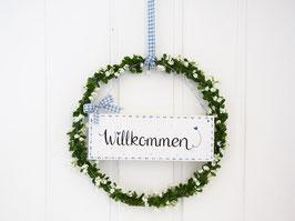 """Blütenkranz """"Amelia"""" - mit Holzschild """"Willkommen"""" - (weiße Blüten) - *reserviert für Steffi*"""