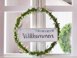 """Blütenkranz """"Aada"""" - mit Holzschild """"Willkommen"""""""