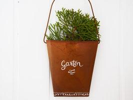 """Tasche mit Bügel, Edelrost """"Garten"""" - weiß beschriftet"""
