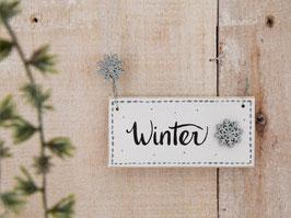 """Holzschild """"Lennja"""" - *Winter"""" - mit Schneeflocken"""