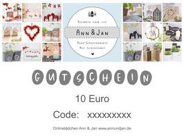 """Gutschein """"tio"""" -  im Wert von 10 Euro"""