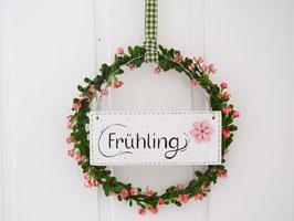 "Blütenkranz ""Tilde"" - mit Holzschild ""Frühling"", (roséfarbene Blüten)"
