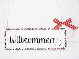 """Holzschild """"Mila"""" - *Willkommen*, im skandinavischen Landhausstil"""