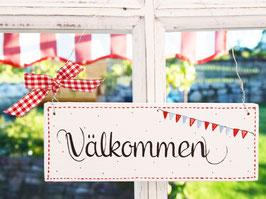 """Holzschild """"Välkommen"""" - weiß/rot, mit Wimpelkette, im skandinavischen Landhausstil"""