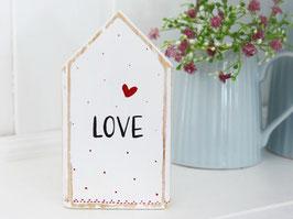 """Holzhaus """"LOVE"""" - weiß, mit roten Pünktchen"""