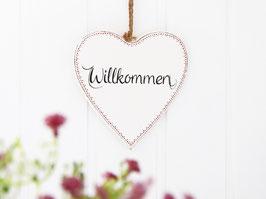 """Holz-Herz """"Willkommen"""" antikweiß - mit rotem Zierrand"""