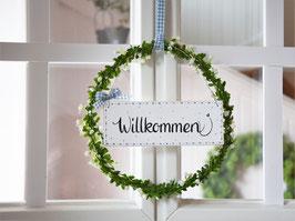 """Blütenkranz """"Tilda"""" - mit Holzschild """"Willkommen"""""""