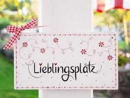 """Holzschild """"Lieblingsplatz"""" - weiß/rot, mit Blümchenmuster """"Enni"""""""