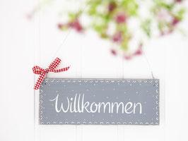 """Holzschild """"Willkommen"""" - grau, im skandinavischen Landhausstil"""