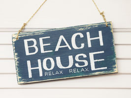 "Holzschild ""Beach House"" - blau"
