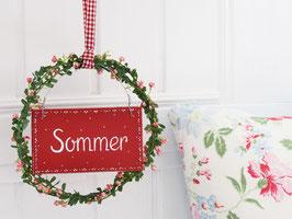 """Blütenkranz """"Elsie"""" - mit Holzschild """"Sommer"""" - (rosé-farbene Blüten)"""