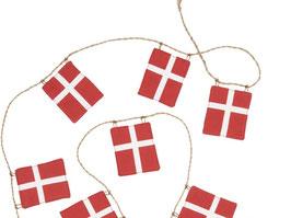 Danebrog-Girlande groß - Schnur mit 10 großen Dänemark-Flaggen