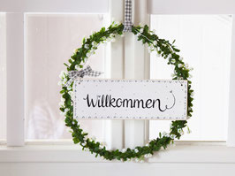 """Blütenkranz """"Jule"""" - mit Holzschild """"Willkommen"""""""