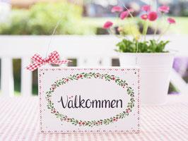 """Holzschild """"Agneta"""" - *Välkommen* - im schwedischen Landhausstil"""