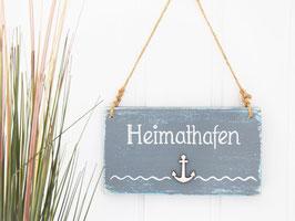 """Holzschild """"Heimathafen"""" - grau, mit Holzanker"""