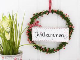 """Blütenkranz """"Karla"""" - mit Holzschild """"Willkommen, (roséfarbene Blüten)"""