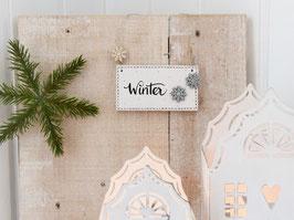 """Holzschild """"Marja"""" - *Winter"""" - mit Schneeflocken"""