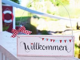 """Holzschild """"Sofie"""" - *Willkommen* - weiß, mit Wimpelkette"""