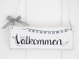 """Holzschild  """"Stella"""" - *Välkommen* - im skandinavischen Landhausstil"""