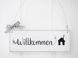 """Holzschild  """"Mikkel"""" - *Willkommen* - im skandinavischen Landhausstil"""