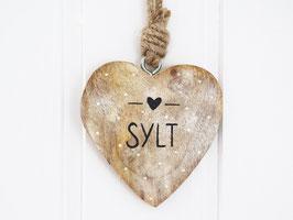 """Holz-Herz """"Sylt"""" mit weißen Punkten"""