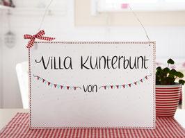 """Türschild """"Hedda""""  - *Villa Kunterbunt von ...* - personalisiert mit Wunschnamen"""