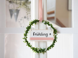 """Blütenkranz """"Ida"""" - mit Holzschild """"Frühling"""", (weiße Blüten)"""