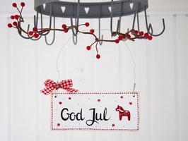 """Holzschild """"Greta"""" - *God Jul* - weiß, mit roten Sternchen, Punkten und Dalapferd"""